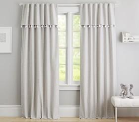 Evelyn Linen Blend Valance Tassel Blackout Panel