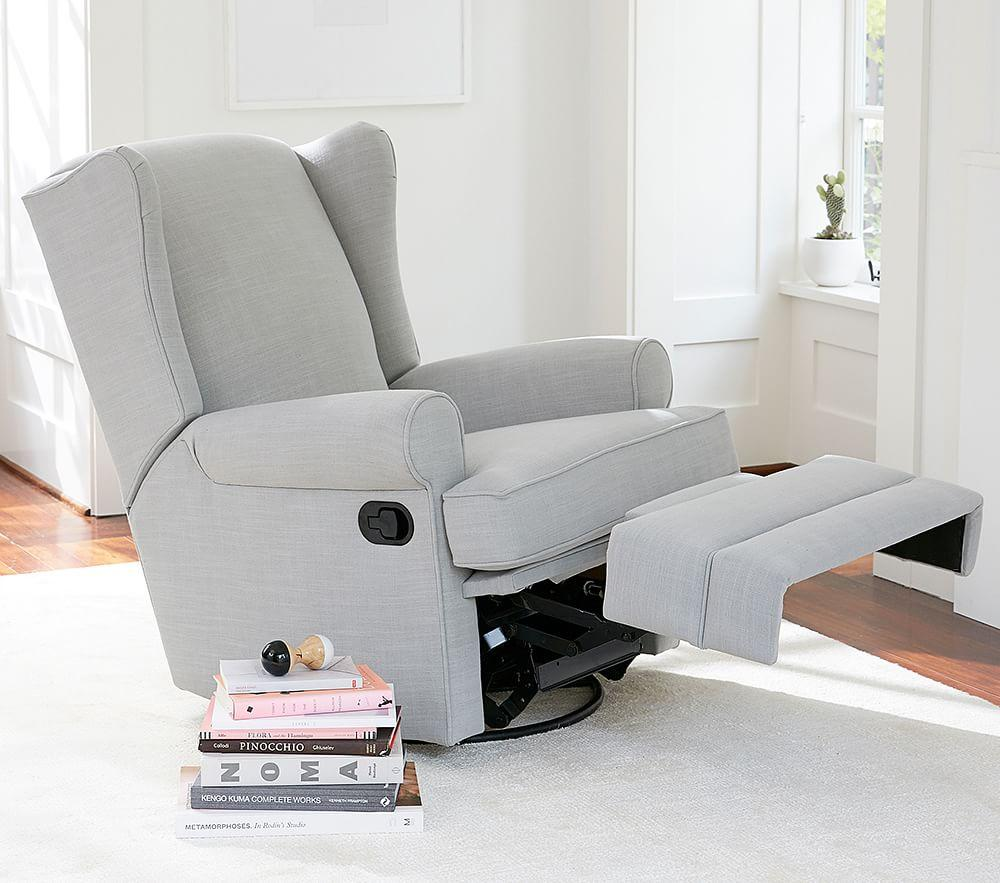 Wingback Glider Amp Recliner Linen Blend Grey Pottery