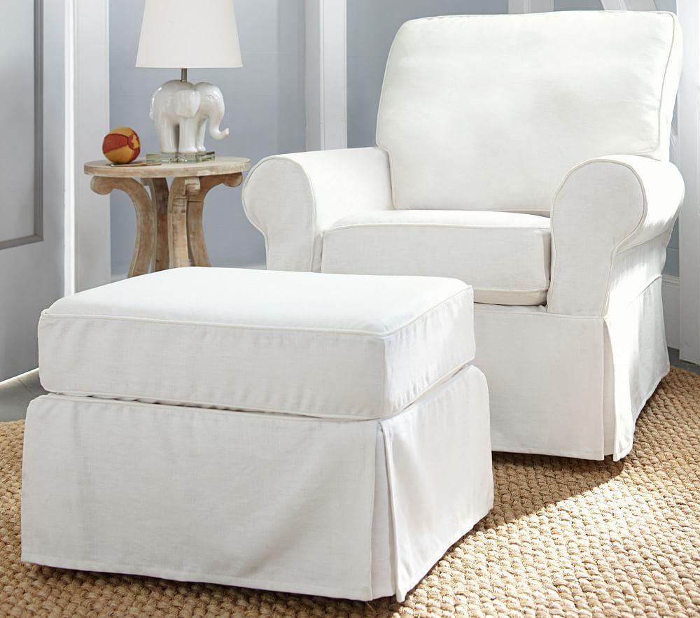 PB Kids® Comfort Ottoman - Twill, Cream