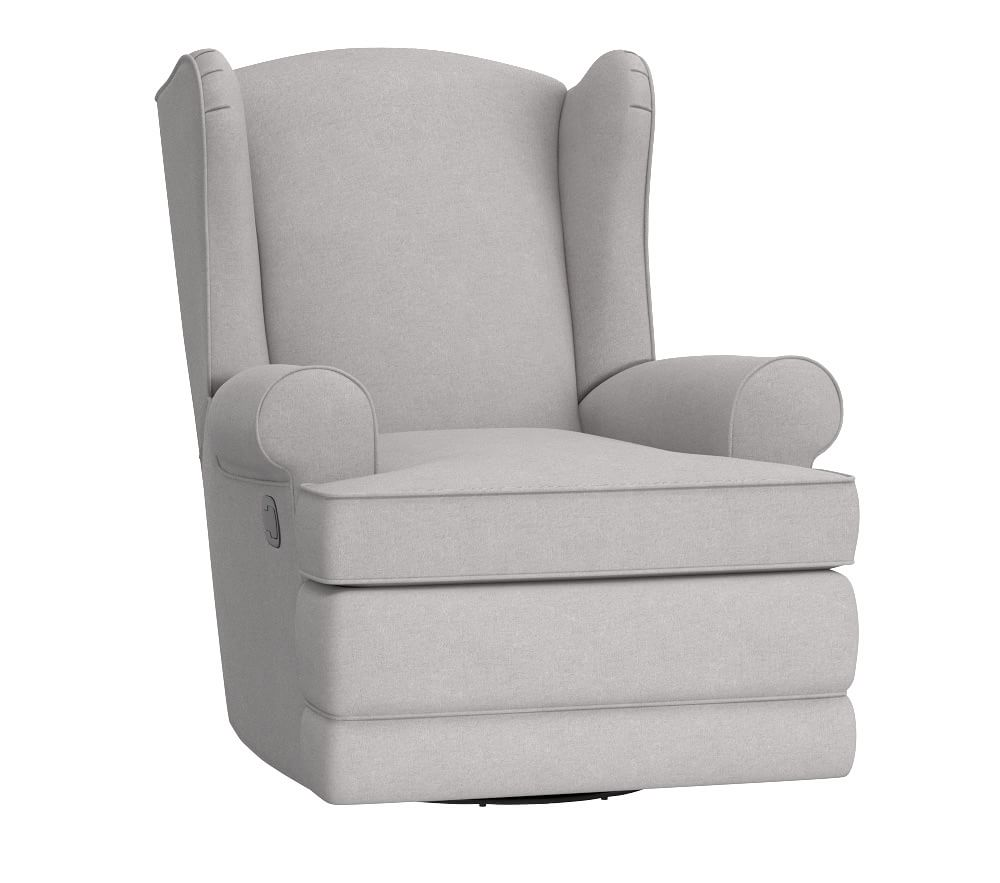 Wingback Glider & Recliner - Linen Blend, Grey | Pottery Barn Kids