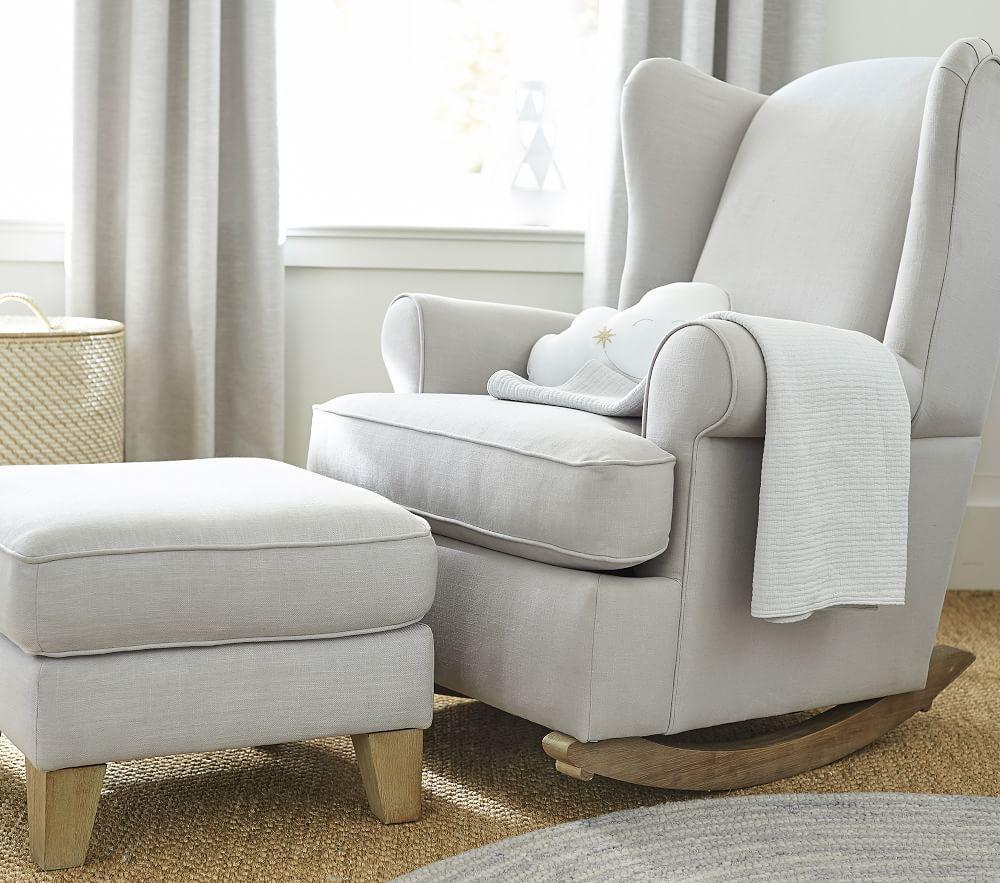 Wingback Rocker And Ottoman Nursery Rocking Chair