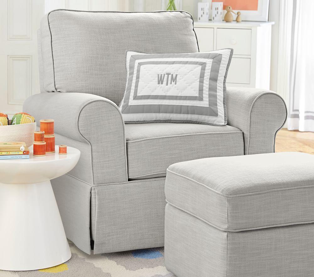 Comfort Upholstered Glider Basketweave Slub Ash