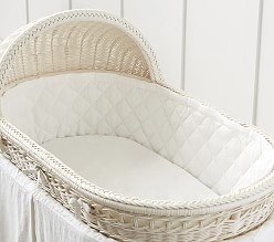 Bassinet Fitted Sheet, White