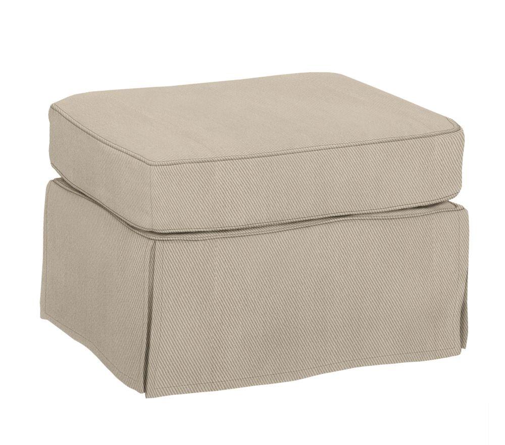 PB Kids® Comfort Ottoman - Twill, Parchment