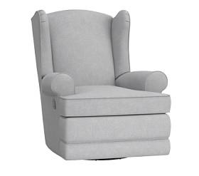 Wingback Glider & Recliner, Washed Grainsack Dove Gray