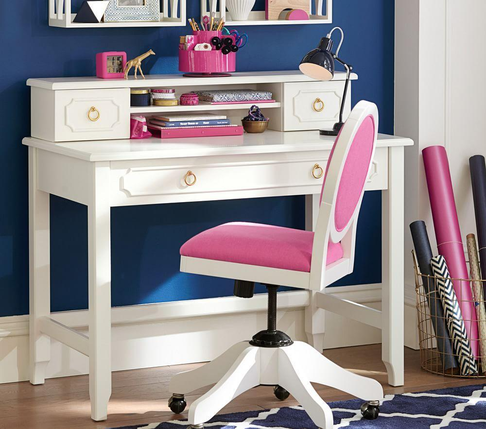 Ava Regency Writing Desk & Hutch - Simply White