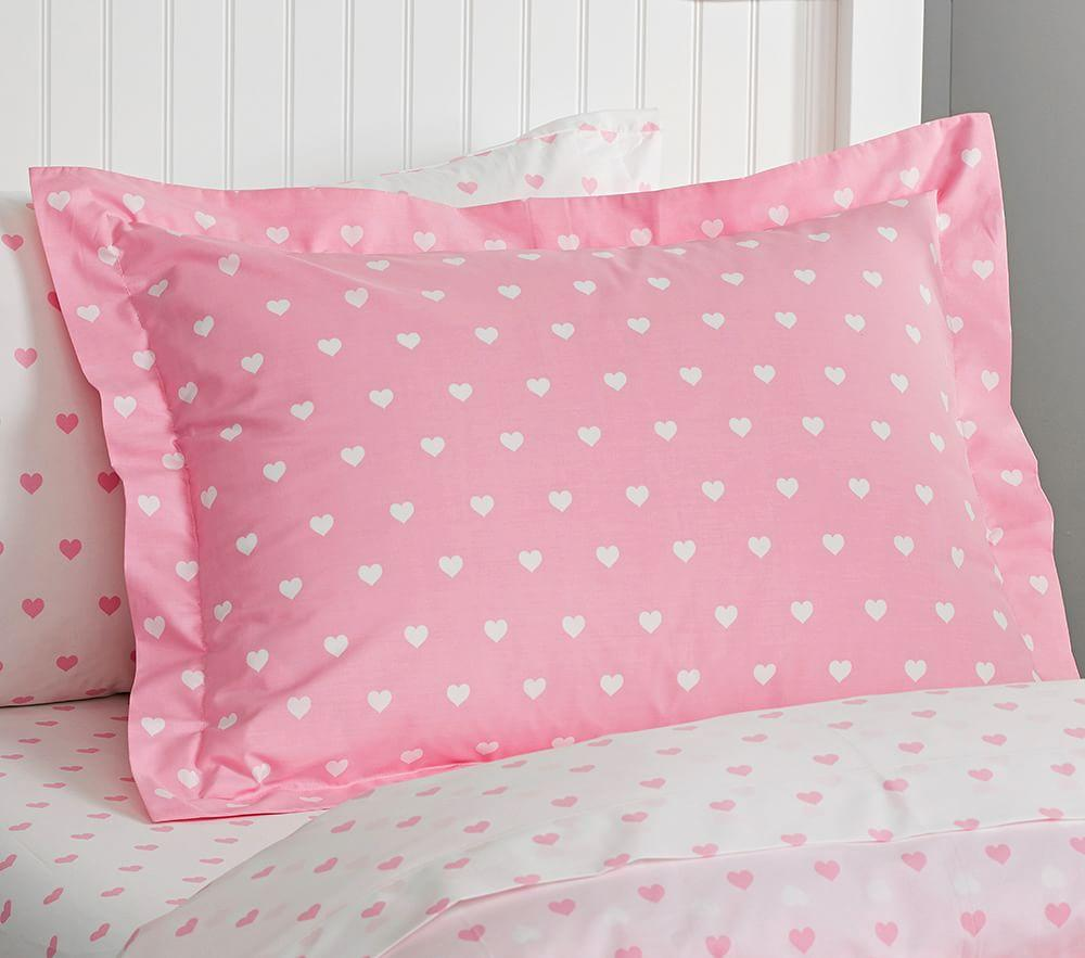 Organic Heart Quilt Cover, Pale Pink