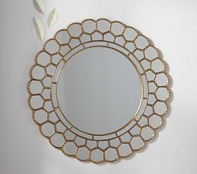 Gold Circle Blossom Mirror