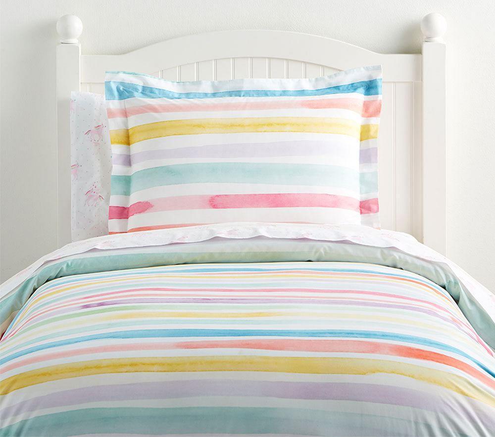 Organic Kayla Rainbow Stripe Quilt Cover