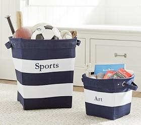 Navy/White Canvas Storage