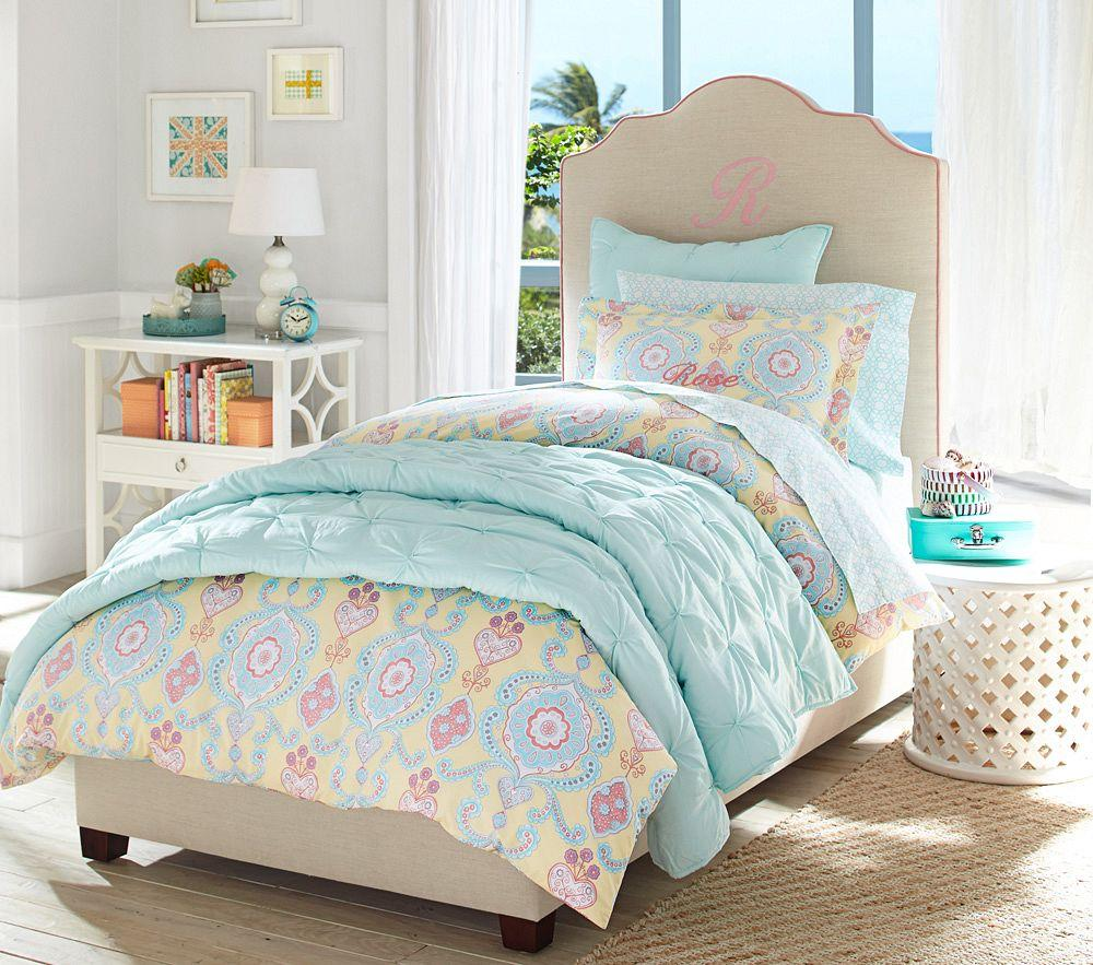 Audrey Quilted Bedding Aqua Pottery Barn Kids