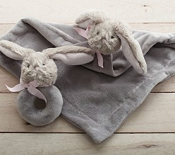 Bunny Plush Security Blanket & Rattle