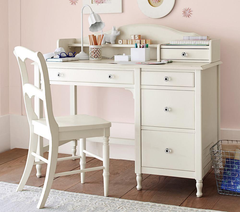 Juliette Storage Desk & Hutch - French White