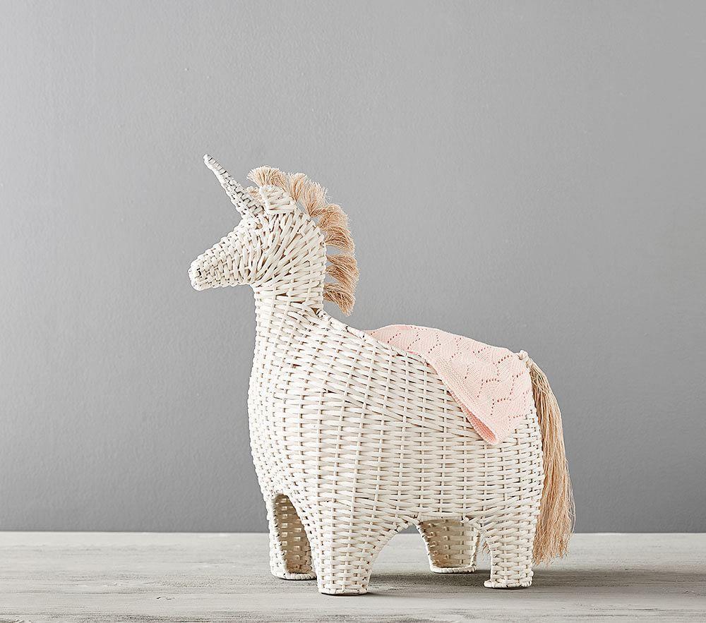 Unicorn Shaped Wicker Storage