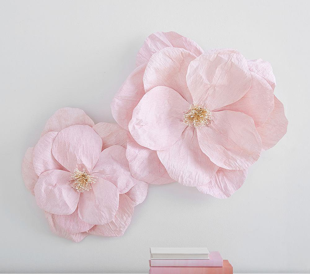 Jumbo Crepe Pink Paper Flowers Set Of 2 Pottery Barn Kids Au