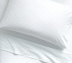 Organic Pin Dot Sheet Set, Aqua