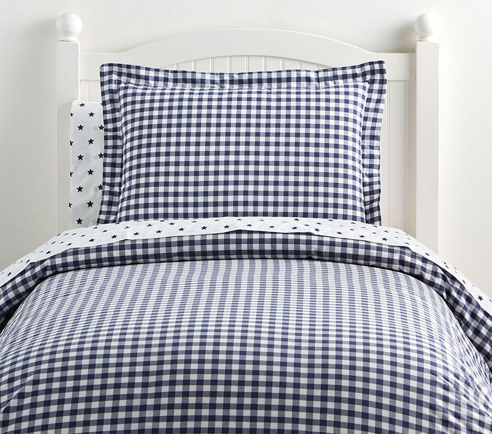 Organic Check Quilt Cover - Navy