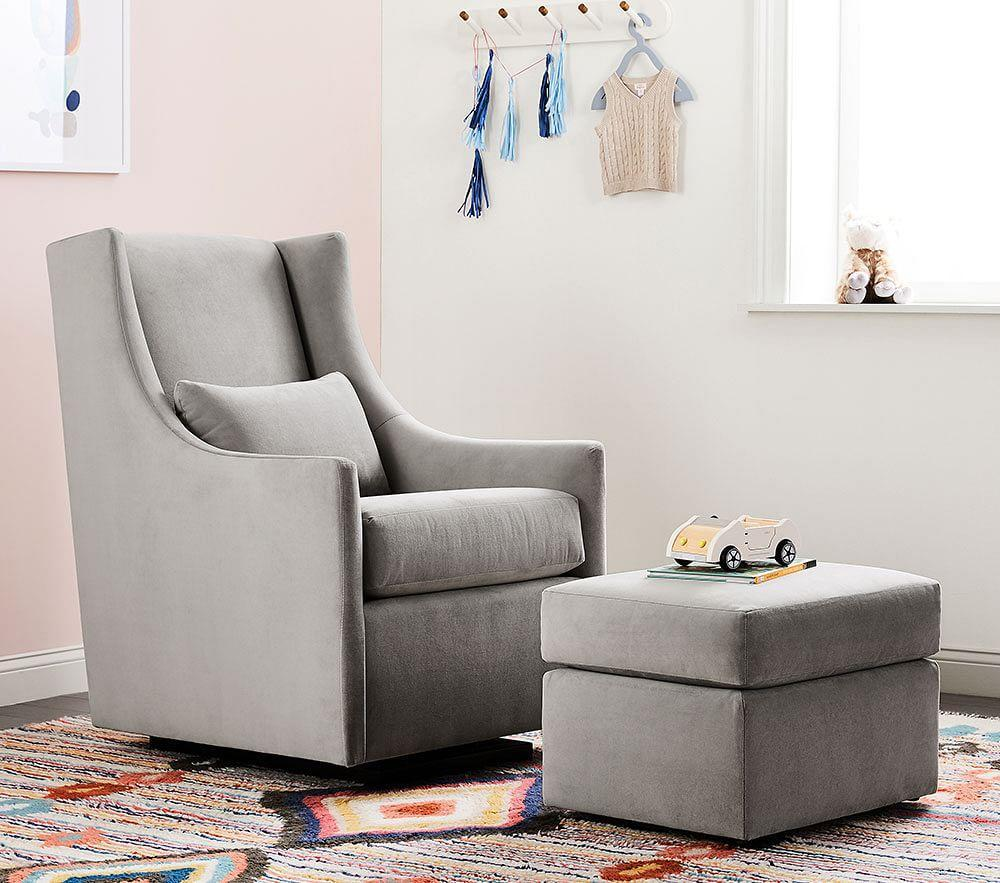 west elm x pbk Graham Glider & Stationary Ottoman - Performance Velvet, Dove Grey