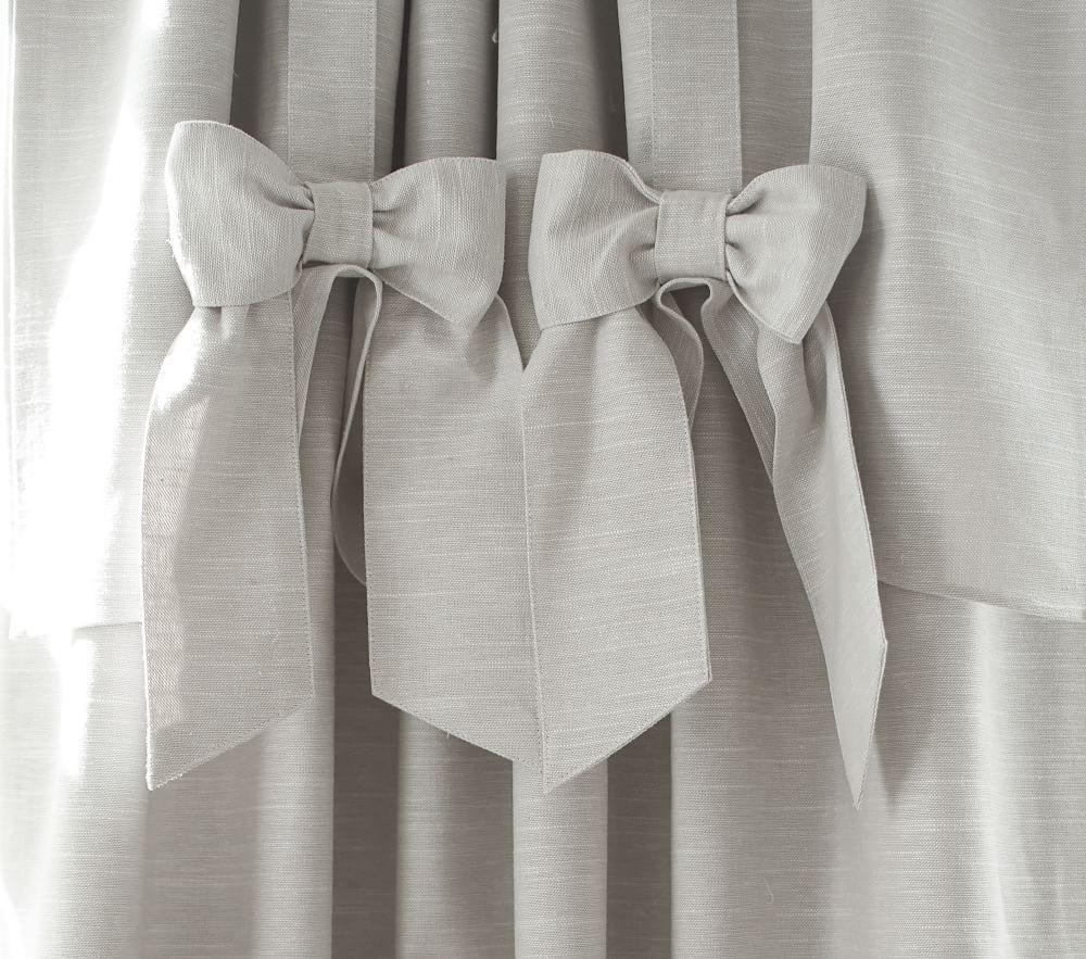 Evelyn Linen Blend Bow Valance Blackout Curtain