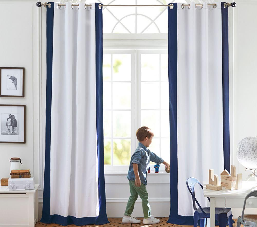 Colour Bordered Blackout Curtain