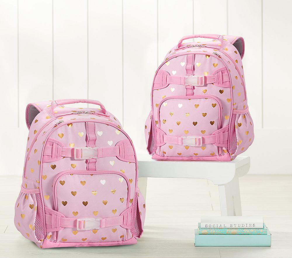 Mackenzie Pink/Gold Foil Hearts Backpacks