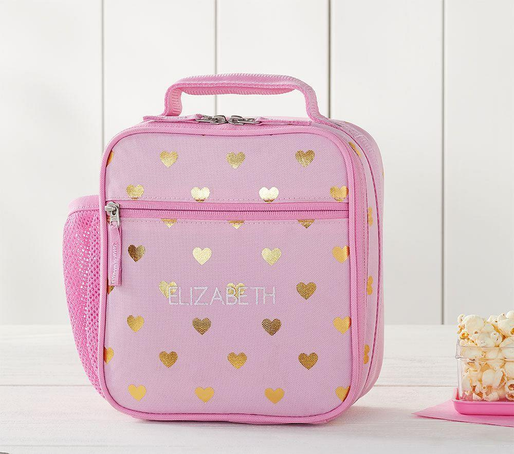 Mackenzie Pink/Gold Foil Hearts Classic Lunch Bag