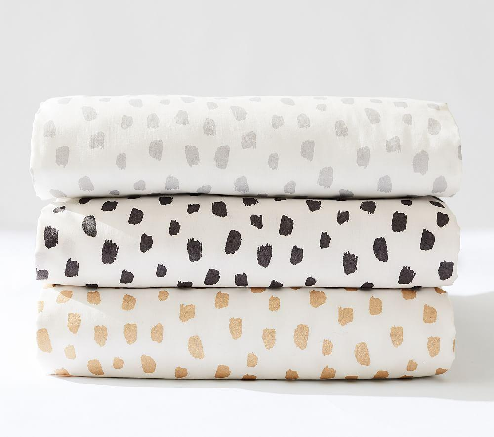 Organic Grey Brushstroke Dot Cot Fitted Sheet