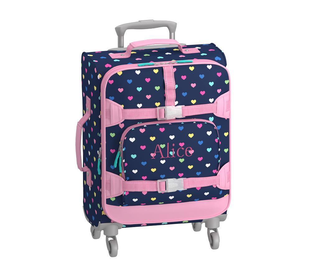 Mackenzie Navy Multicolor Heart Spinner Luggage