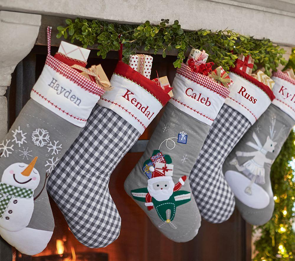 Snowman with Snowflakes Grey Quilted Stocking