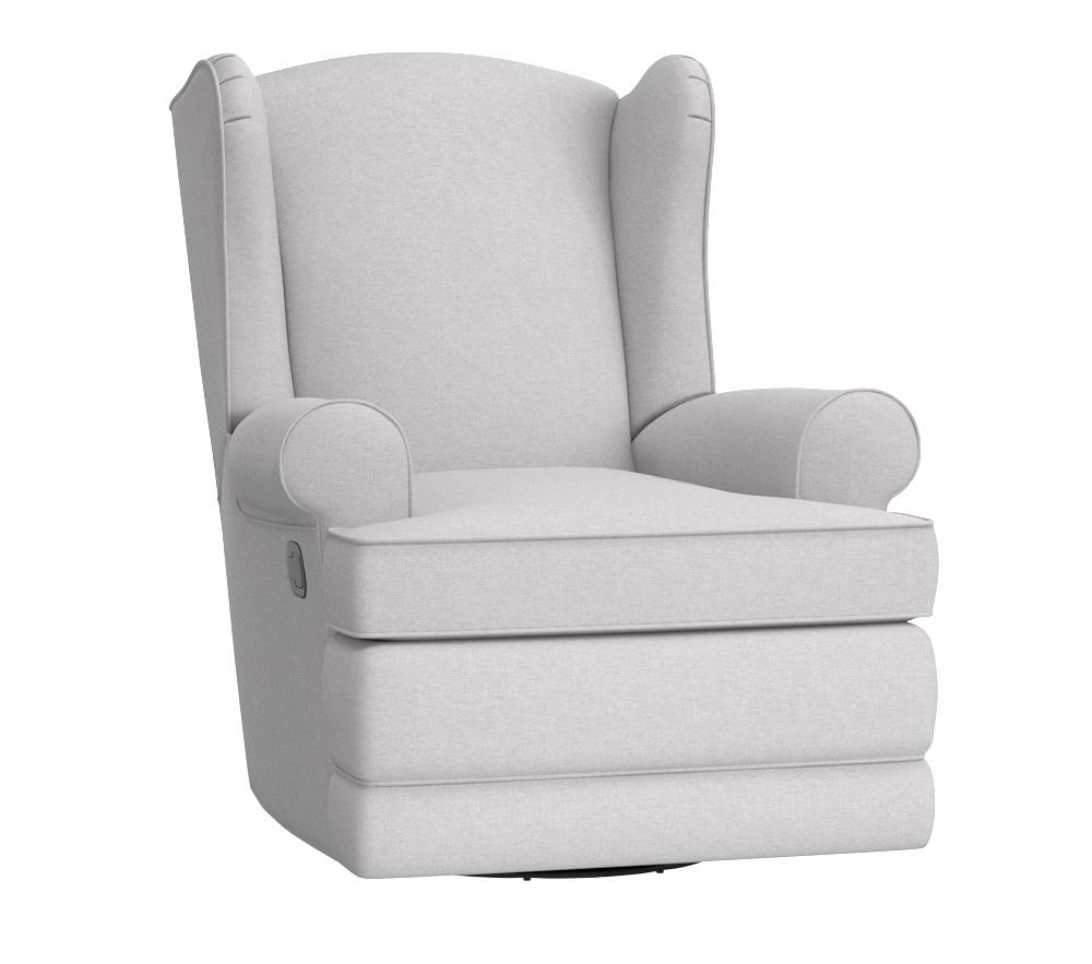 Wingback Glider & Recliner, Brushed Crossweave Light Grey