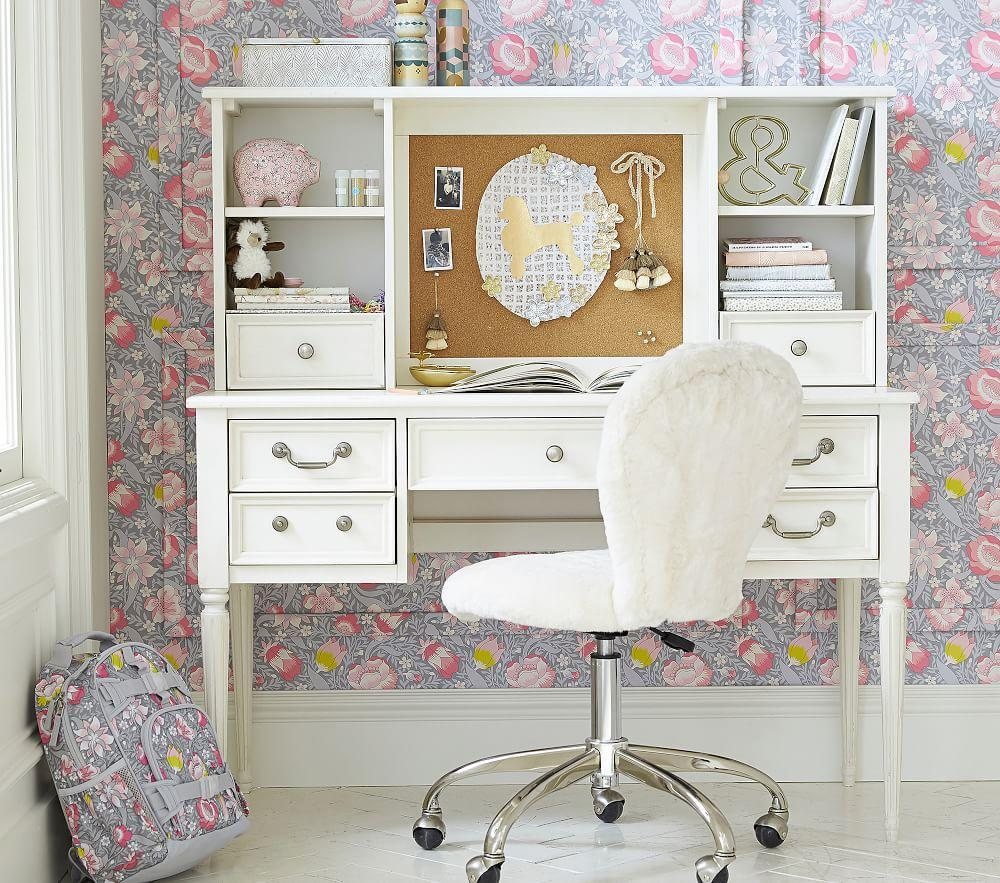 Blythe Desk & Tall Hutch - French White