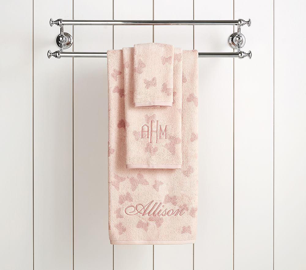 Monique Lhuillier Tencel Butterfly Jacquard Towel Collection