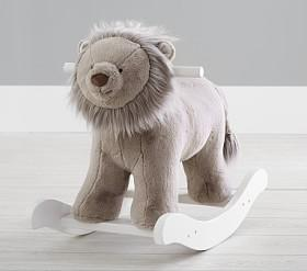 Taupe Lion Plush Rocker