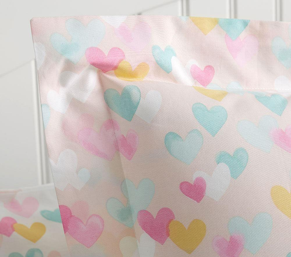Organic Retro Heart Quilt Cover