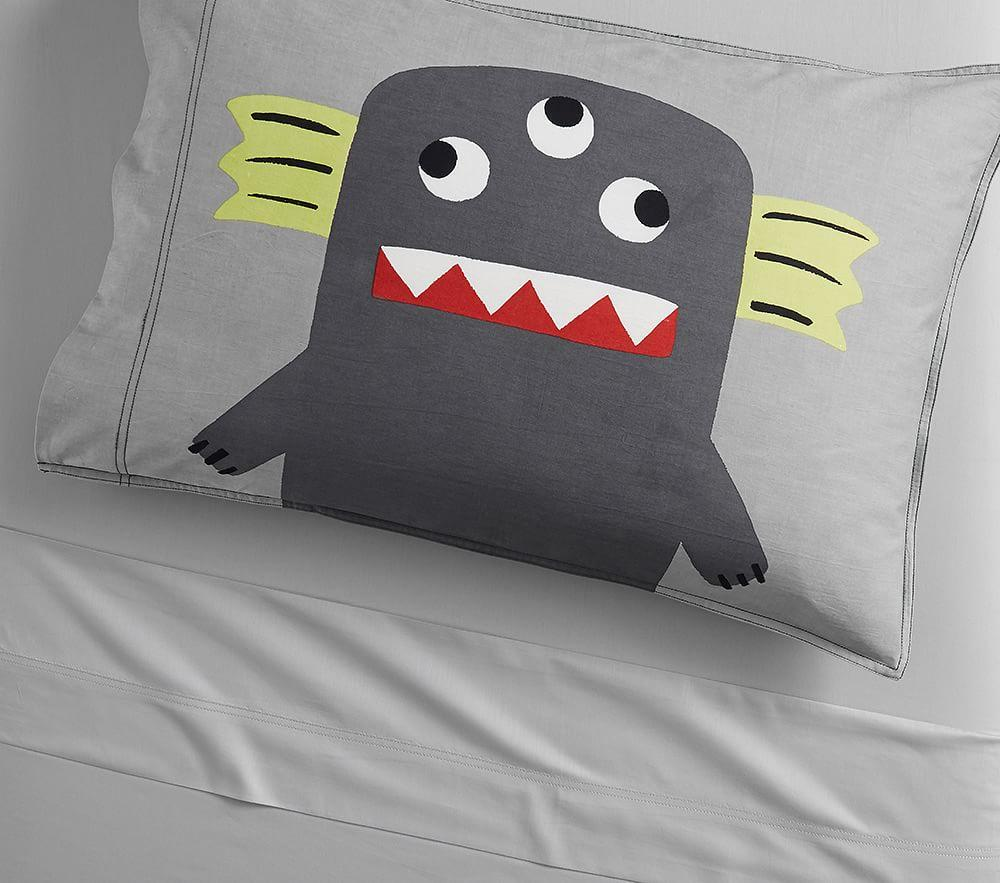 Organic Washed Sateen Monster Pillowcase