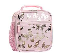 Mackenzie Pink Gold Foil Butterflies Classic Lunch Bag