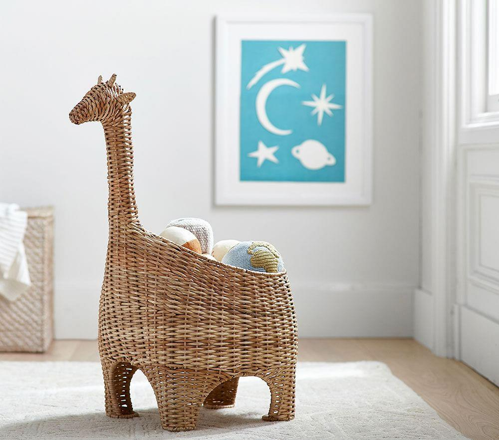 Giraffe Shaped Wicker Basket