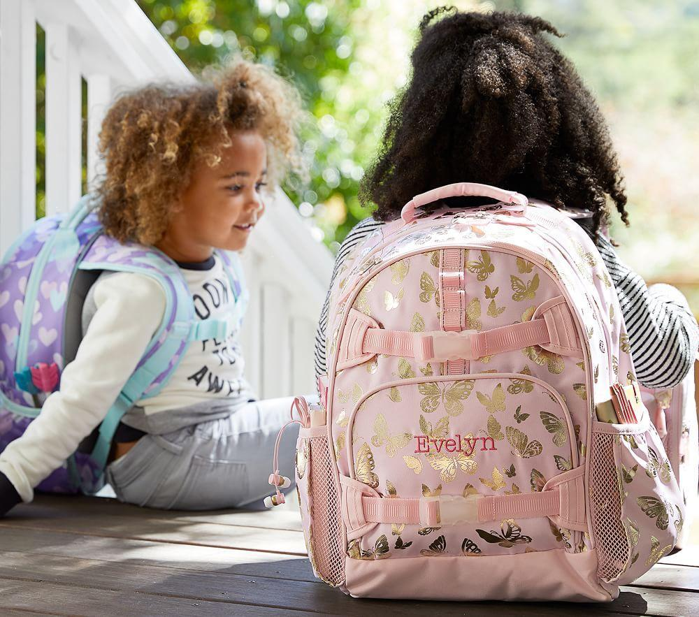 Mackenzie Pink Gold Foil Butterflies Backpacks