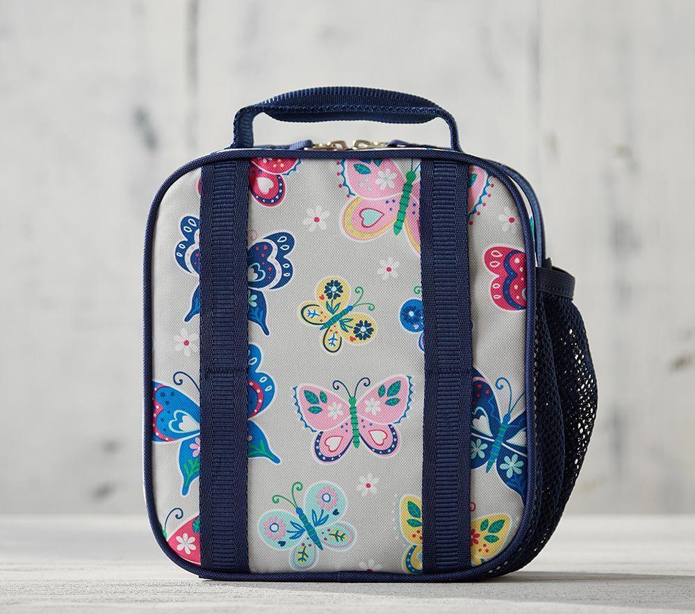 Mackenzie Navy Gold Foil Butterflies Classic Lunch Bag