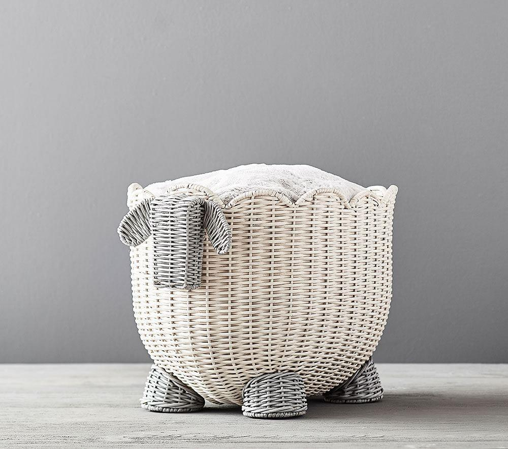 Lamb Shaped Wicker Storage
