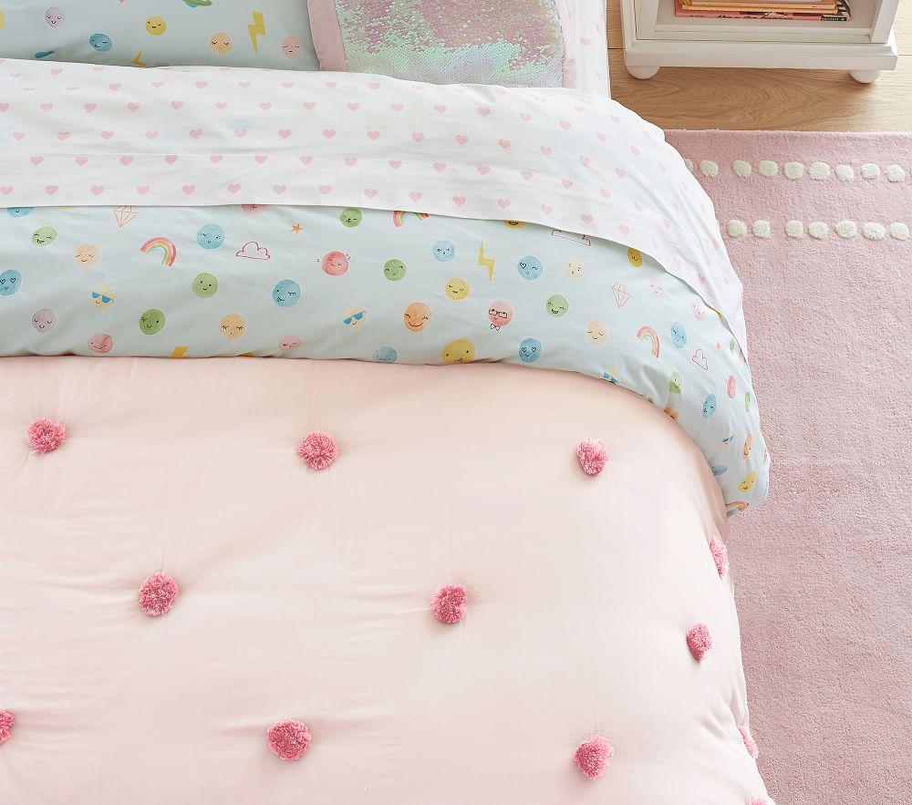 Washed Sateen Pom Pom Comforter