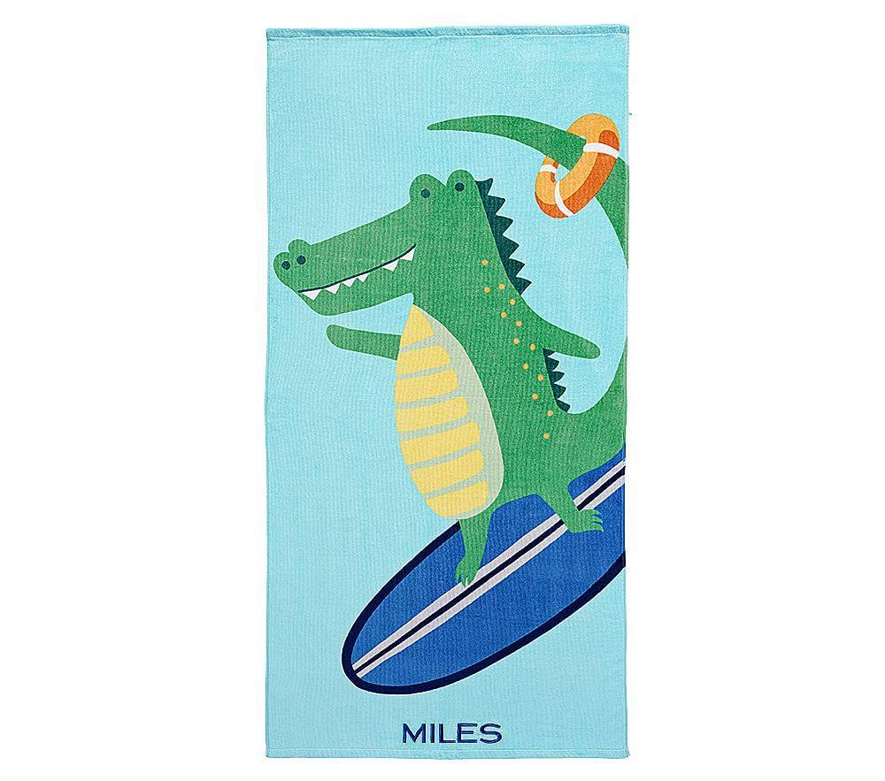 Surfing Alligator Beach Towel