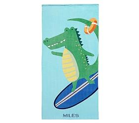 Surfing Alligator Beach Towel