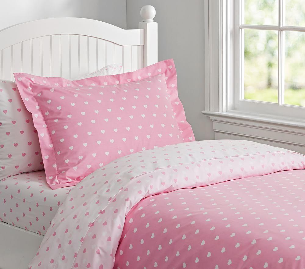 Organic Heart Quilt Cover Pale Pink Pottery Barn Kids Au
