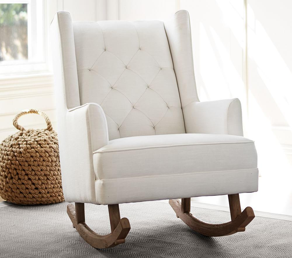 Modern Tufted Wingback Rocker - Basketweave Slub, Ivory