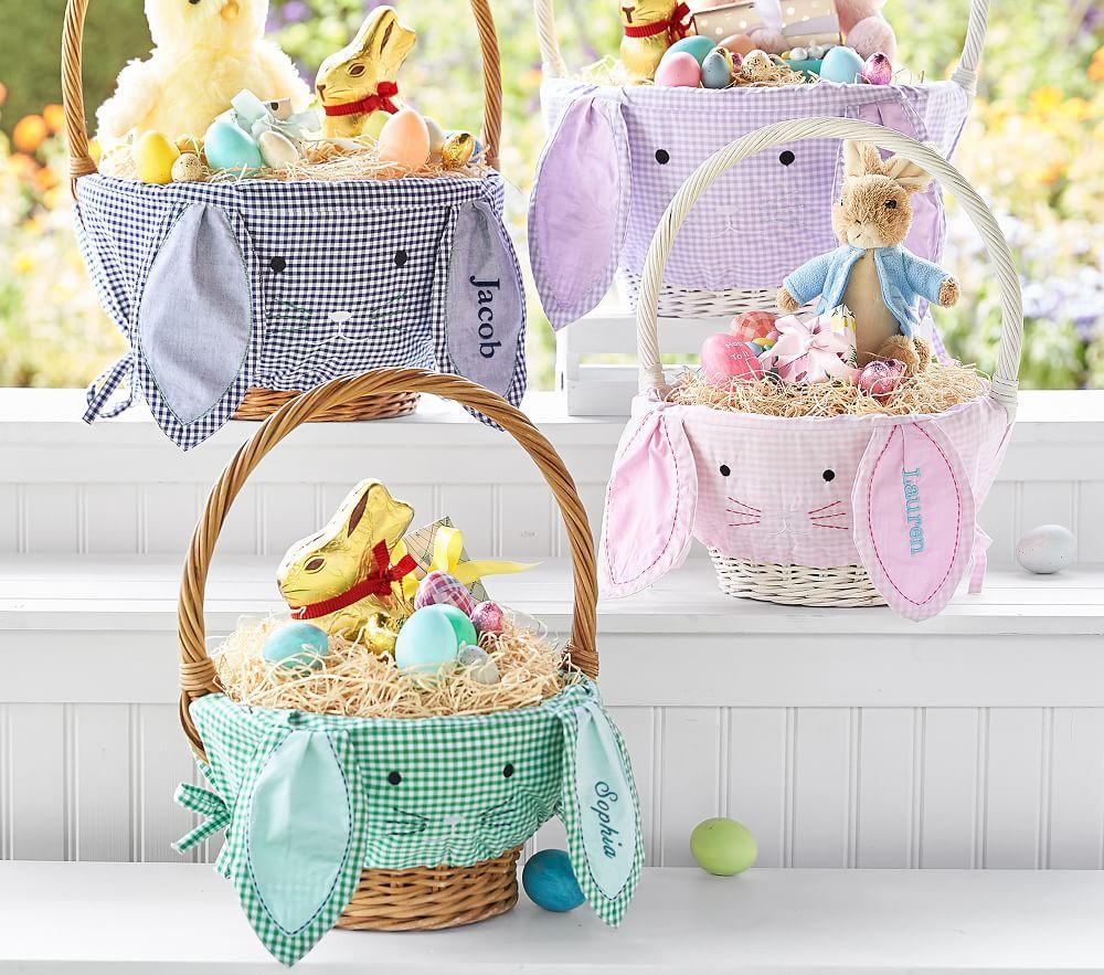Pink Gingham Bunny Face Basket Liners