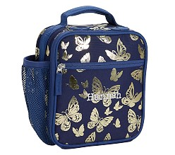 Mackenzie Navy Gold Foil Butterflies Classic Lunch Bag