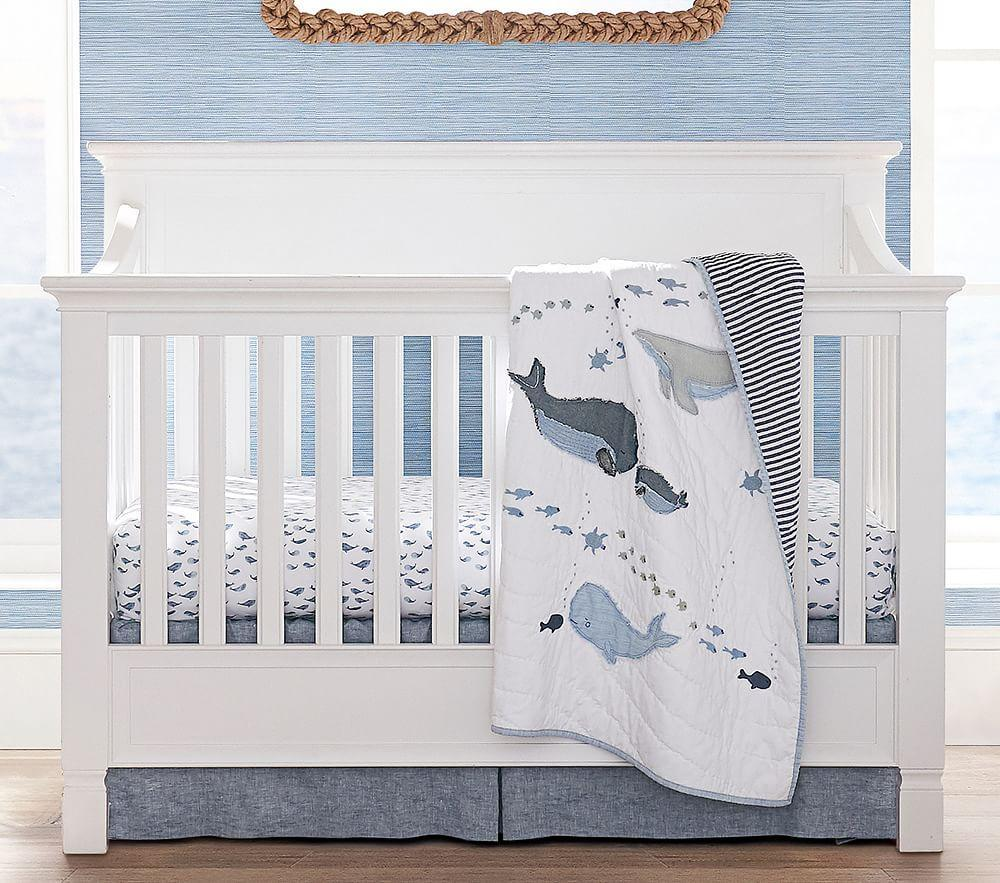 Organic Watercolour Whale Cot Fitted Sheet