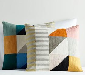 west elm x pbk Divided Squares Crewel Cushion Cover