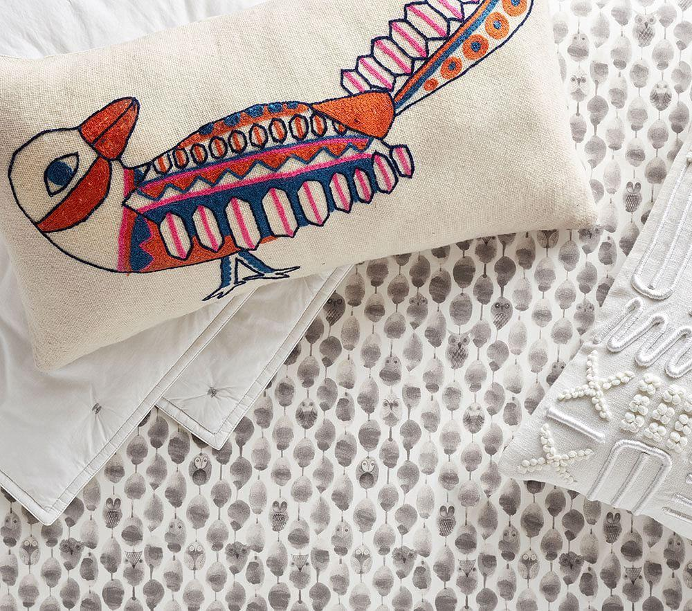 west elm x pbk Embroidered Bird Cushion Cover